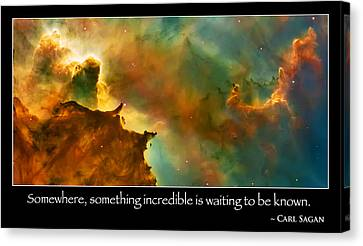 The Hubble Telescope Canvas Print - Carl Sagan Quote And Carina Nebula 3 by Jennifer Rondinelli Reilly - Fine Art Photography