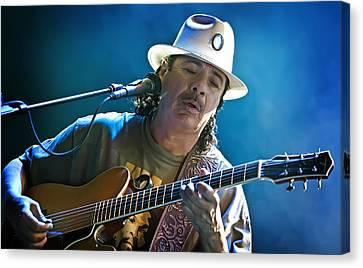 Carlos Santana On Guitar 3 Canvas Print by Jennifer Rondinelli Reilly - Fine Art Photography