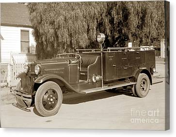 Carmel Fire Department Engine No. 3  Circa 1933 Canvas Print by California Views Mr Pat Hathaway Archives