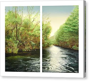 Carmel River Mid-watershed Canvas Print by Logan Parsons