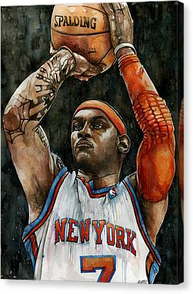 Patrick Ewing Canvas Print - Carmelo Anthony by Michael  Pattison
