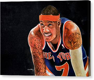 Carmelo Anthony - New York Knicks Canvas Print by Michael  Pattison