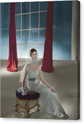 Carmen Dell'orefice Sitting On A Stool Canvas Print