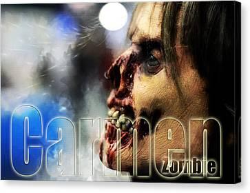 Carmen Zombie Canvas Print by Tommytechno Sweden