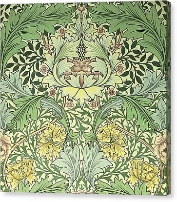 Carnations Design Canvas Print by William Morris