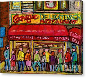 Carnegie's  Deli New York City Canvas Print by Carole Spandau