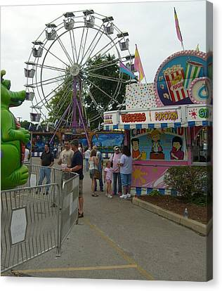 Carnival Ferris Wheel Canvas Print by Ann Willmore