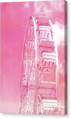 Carnival Festival Baby Pink Ferris Wheel - Hot Pink Carnival Festival Ferris Wheel White Clouds Canvas Print by Kathy Fornal
