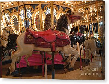Carnival Festival Merry Go Round Carousel Horses  Canvas Print by Kathy Fornal