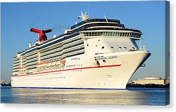 Carnival Legend Leaving Tampa Florida Canvas Print by David Lee Thompson