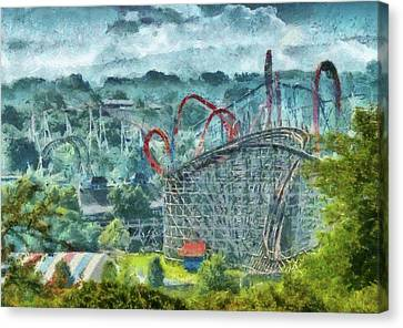 Carnival - The Thrill Ride Canvas Print by Mike Savad