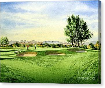 Canvas Print featuring the painting Carnoustie Golf Course 13th Green by Bill Holkham