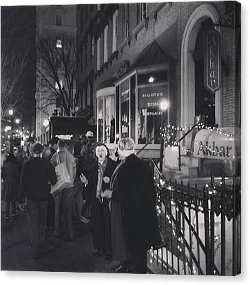 Canvas Print featuring the photograph Carolers On North Charles Street December 2013 by Toni Martsoukos