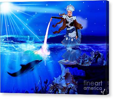 Carolina Kostner As Beautiful Sea Princess Canvas Print by Artist Nandika  Dutt