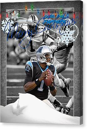 Carolina Panthers Christmas Card Canvas Print by Joe Hamilton