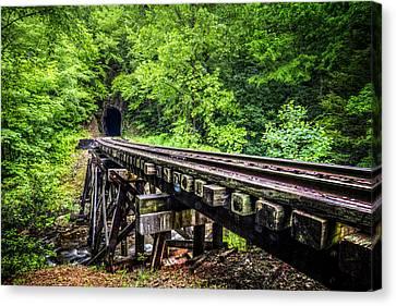 Carolina Railroad Trestle Canvas Print by Debra and Dave Vanderlaan