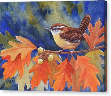 Carolina Wren In Autumn Canvas Print