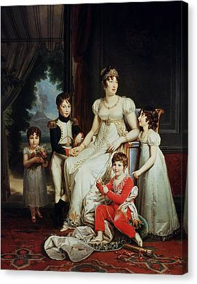 Caroline Bonaparte 1782-1839 And Her Children Oil On Canvas Canvas Print by Francois Pascal Simon, Baron Gerard
