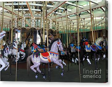 Roller Coaster Canvas Print - Carousel At Santa Cruz Beach Boardwalk California 5d23632 by Wingsdomain Art and Photography