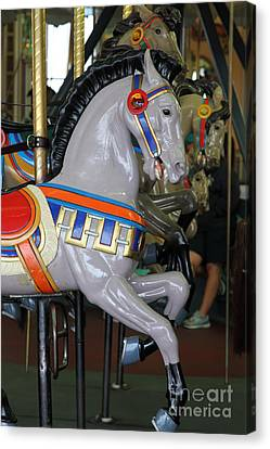 Roller Coaster Canvas Print - Carousel At Santa Cruz Beach Boardwalk California 5d23636 by Wingsdomain Art and Photography