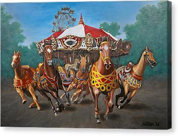 Canvas Print featuring the painting Carousel Escape At The Park by Jason Marsh
