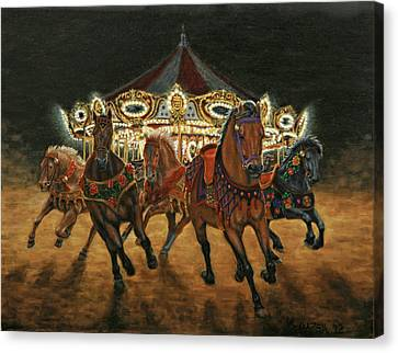 Carousel Escape At Night Canvas Print
