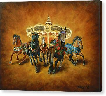 Canvas Print featuring the painting Carousel Escape by Jason Marsh