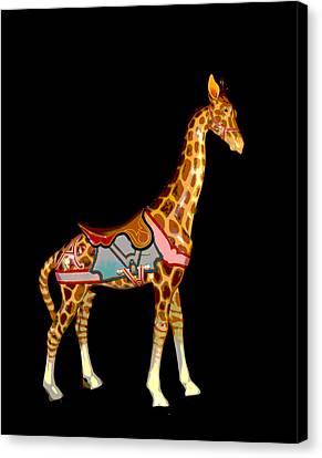 Wooden Platform Canvas Print - Carousel Giraffe by Charles Shoup