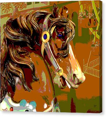 Wooden Platform Canvas Print - Carousel Horse by Charles Shoup
