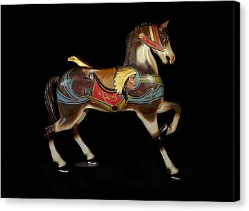 Wooden Platform Canvas Print - Carousel Horse Glen Echo by Charles Shoup