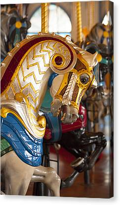 Canvas Print featuring the photograph Colorful Carousel Merry-go-round Horse by Jerry Cowart