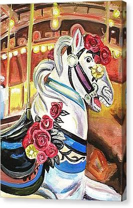 Seaside Heights Canvas Print - Carousel Horse by Melinda Saminski
