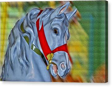 Carousel Horse Red Bridle Canvas Print by Thomas Woolworth