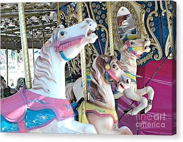 Carousel Horses - Dreamy Baby Pink Carousel Merry Go Round Horses  Canvas Print by Kathy Fornal