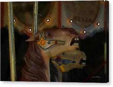 Carousel Horses Painterly Canvas Print by Ernie Echols