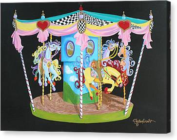 Carousel Horses Canvas Print by Shelley Overton