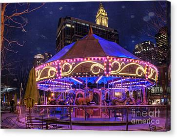 Carousel In Boston Canvas Print by Juli Scalzi