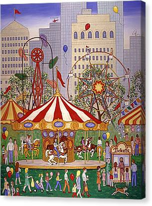 Carousel In City Park Canvas Print by Linda Mears