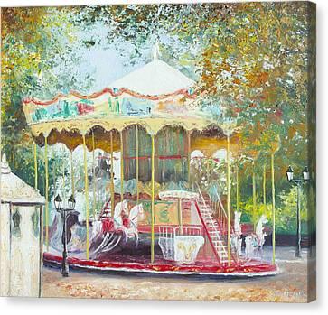 Carousel In Montmartre Paris Canvas Print by Jan Matson