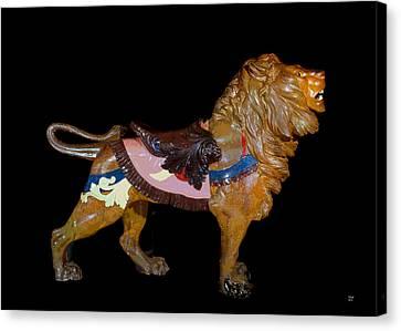 Wooden Platform Canvas Print - Carousel Lion Glen Echo Park by Charles Shoup