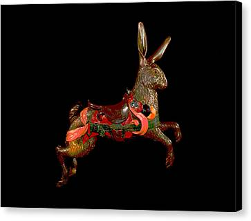 Wooden Platform Canvas Print - Carousel Rabbit  by Charles Shoup