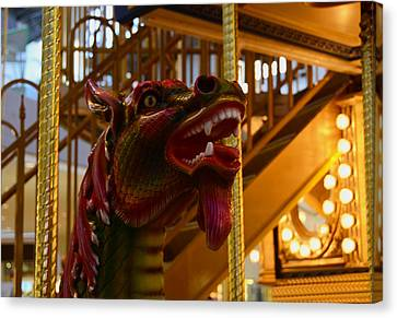 Canvas Print featuring the photograph Vintage Carousel Red Dragon - 2 by Renee Anderson
