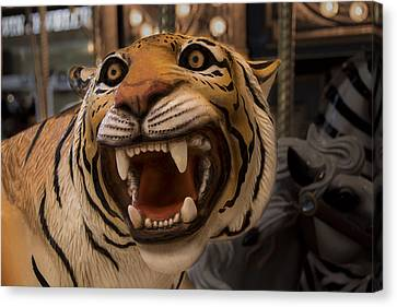 Canvas Print featuring the photograph Vintage Carousel Tiger - 1 by Renee Anderson