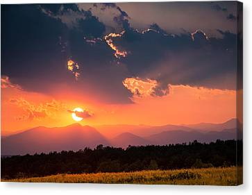 Canvas Print featuring the photograph Carpathian Sunset by Mihai Andritoiu