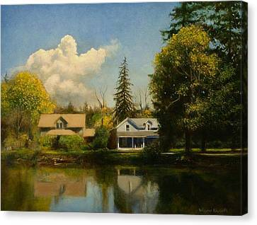 Canvas Print featuring the painting Carpenter's Pond by Wayne Daniels