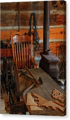 Old Cabins Canvas Print - Carpentry Workshop by Dan Sproul