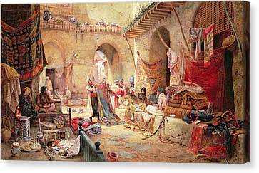 Carpet Bazaar, Cairo, 1887 Canvas Print by Charles Robertson