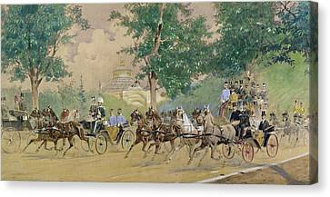 Carriage Driving Near The Rotunda In Vienna Canvas Print by Austrian School