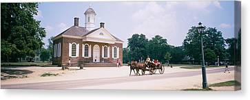 Carriage Moving On A Road, Colonial Canvas Print