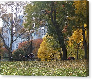 Canvas Print featuring the photograph Carriage Ride Central Park In Autumn by Barbara McDevitt